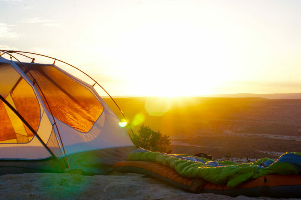 tent and sunrise