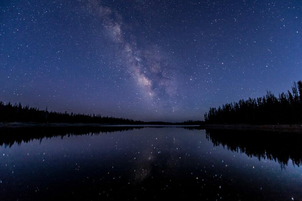 lake at night with stars