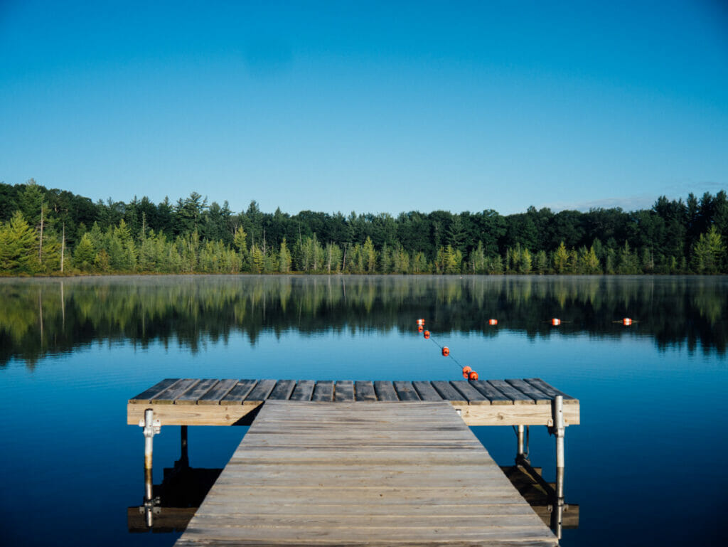 dock with lake behind it