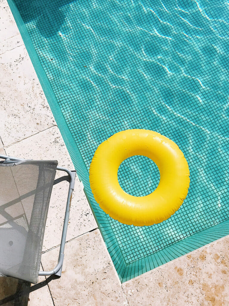 yellow float in swimming pool