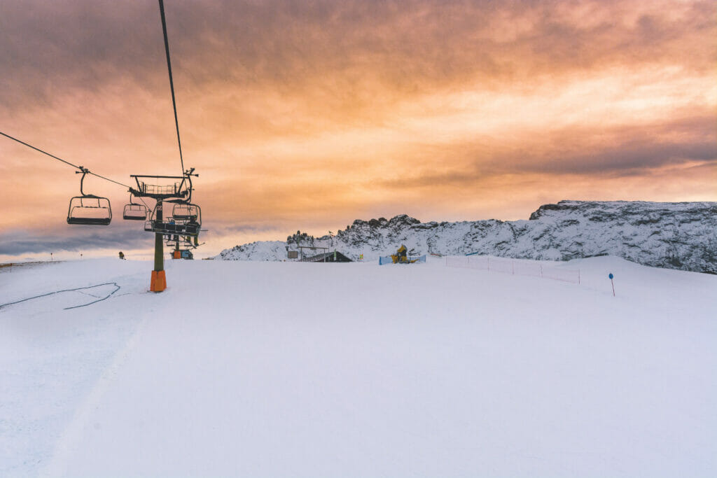 ski slopes at sunset