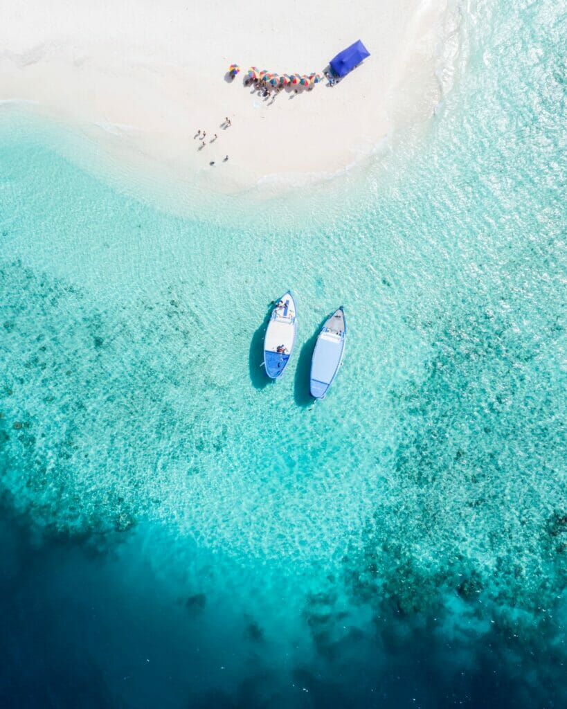 boats on the water from above